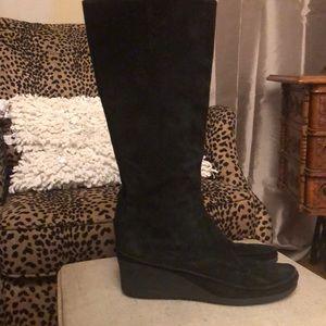Via Spiga suede wedge zip up boots size 8.5